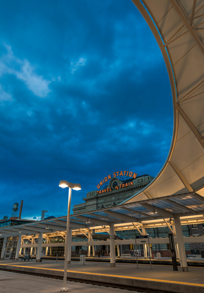 Denver Union Station Train Hall & Terminal Vertical Photo at Dusk