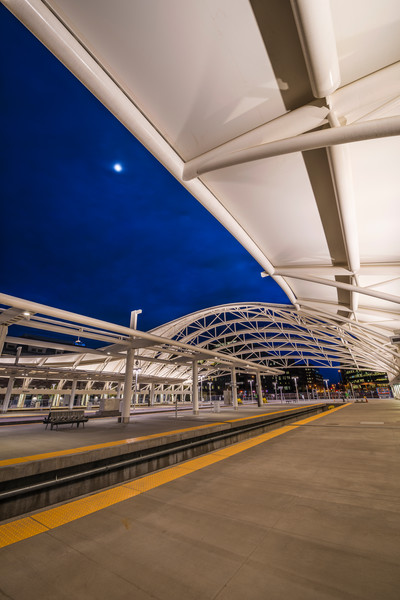 Denver Union Station Train Hall Twilight Photo Vertical Format