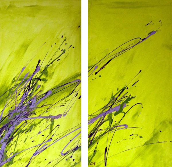 fields-diptych, sunny-sunday-afternoon, abstract, chartreuse, lavender, energy, diptych, expression