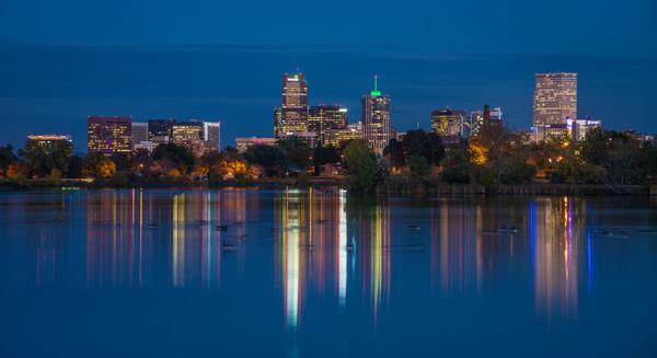 Denver Skyline Reflecting on Sloan's Lake after Sunset Blue Hour