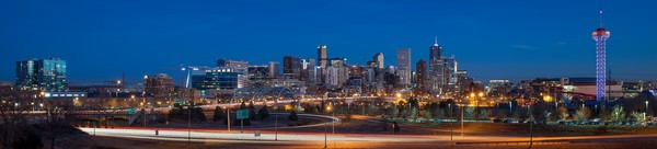 Panoramic Photo of Downtown Denver Skyline with Elitch Gardens
