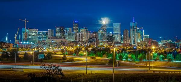 Denver Night Skyline Full Moon 16th Street Bridge Panoramic Photo