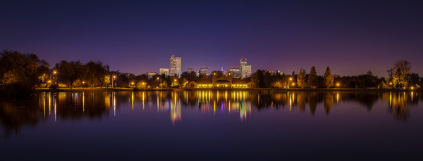 Panoramic Photo of Denver Night Skyline City Park Lake