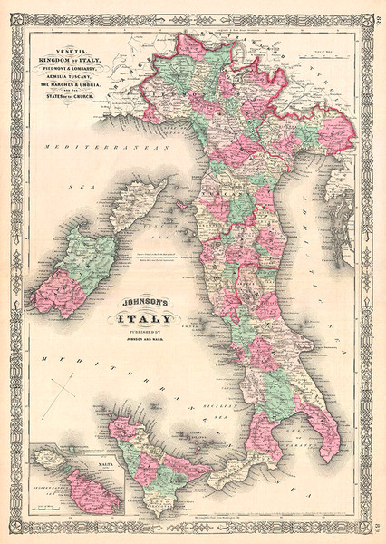 Map of Italy 1864
