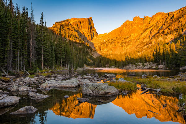 Hallett Peak Reflection Upon Dream Lake Early Morning Light RMNP