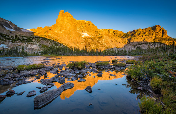 Photo of Notchtop Mountain Reflecting in Lake Helene RMNP Colorado