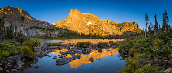 Panoramic Photo of Flattop Mountain Notchtop Mountain & Lake Helene RMNP Colorado