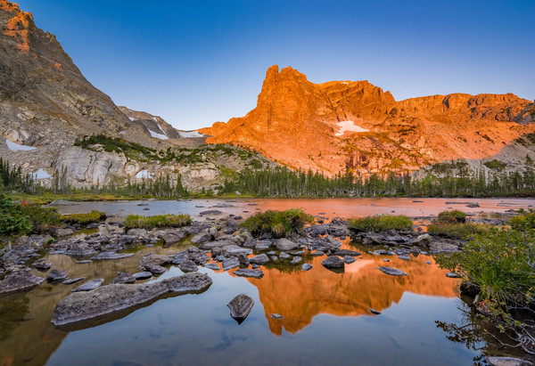 Photo of Notchtop Mountain Alpenglow Light Reflections Lake Helene