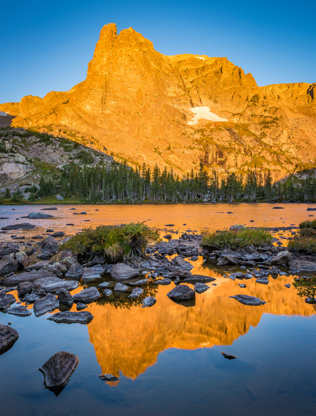 Notchtop Mountain Reflecting Upon Lake Helene in Alpenglow Light RMNP