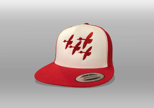 Trucker Hat Style Cap With Stylized Red Geese Print