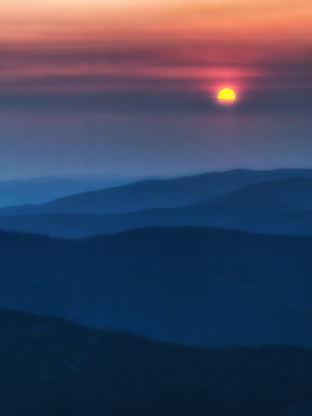 Smokey Sunset, Pats Knob Fire Lookout