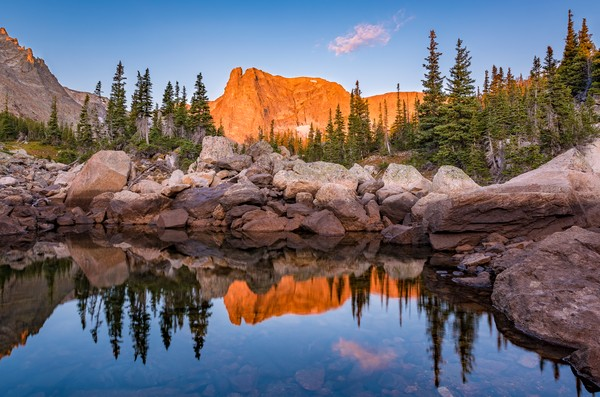 Alpenglow Notchtop Mountain Reflecting Upon Marigold Pond Rocky Mountain National Park, Colorado