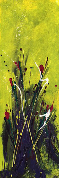 happy-day, abstract, fields, flowers, reds, chartreuse, purples, splashes,