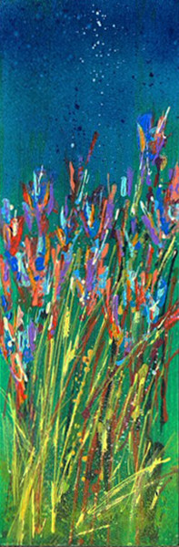 glory-of-the-wild-flowers-2, diptych, art, fields, abstract, bluish-green