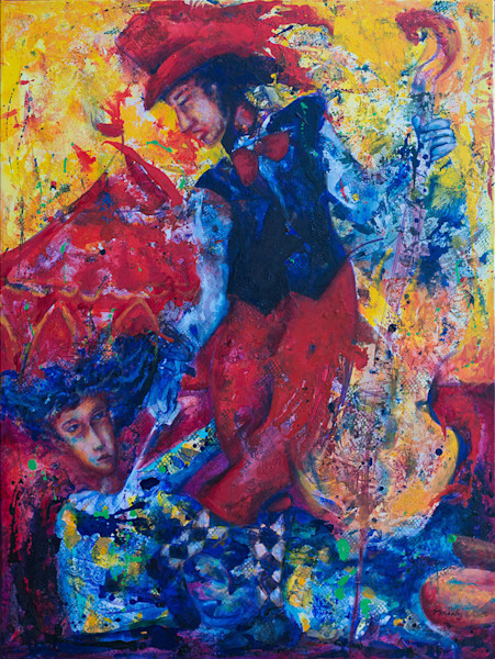 Bright yellows and reds and vivid blues contrast powerfully in this mystical and mysterious original painting by artist Pablo Montes, which depicts the energy and power of love and seduction.