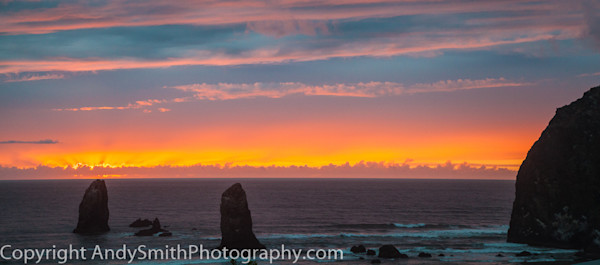 fine art photograph of sunset at Haystack Rock