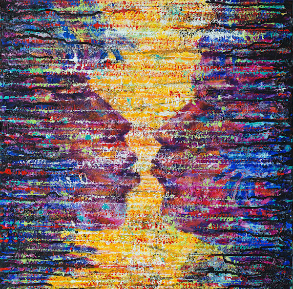 """Light-filled lines of energy fill the canvas in this image from artist Pablo Montes' """"Energy Series."""" Almost obscured behind the flowing lines of color and pattern, two lovers prepare to kiss in this original painting."""