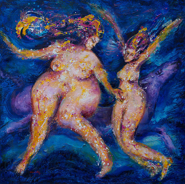 Two female figures dance in the blue shadows of the entrance to a new world or life, as a barely seen mystical creature runs behind them in this original acrylic painting by artist Pablo Montes.