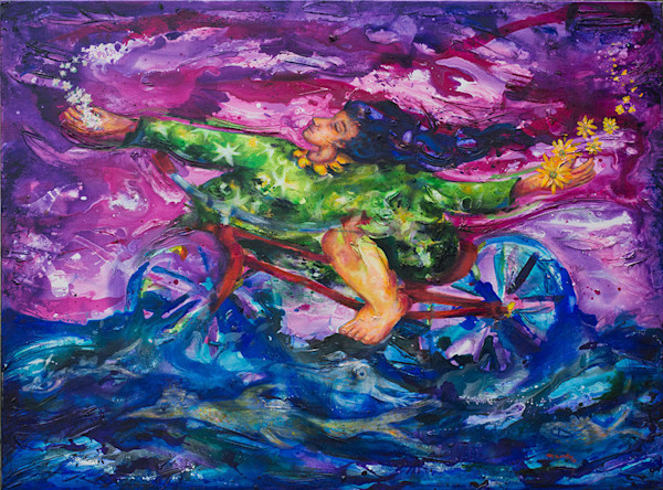 Mystical creatures swim below and fly above the figure on the bicycle in this fun, celebratory and magical original painting by artist Pablo Montes.