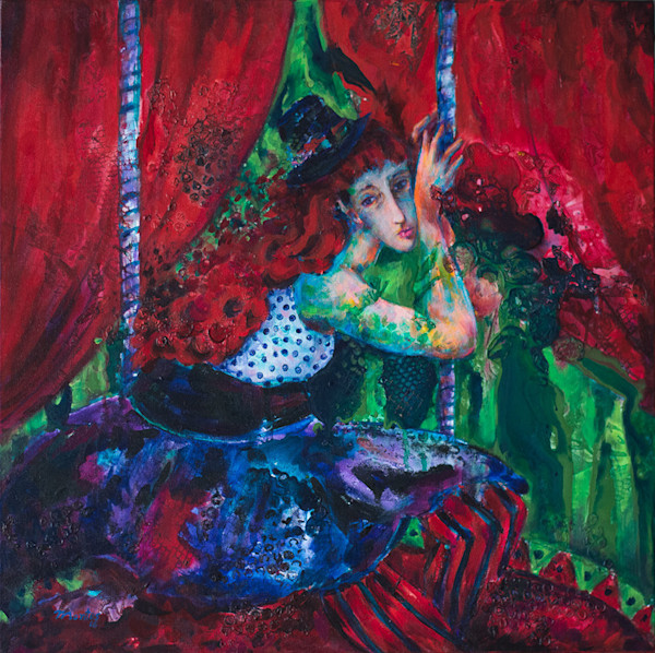 A woman, looking as if she is lost in contemplation, sits pensively on a swing in a carnival-like setting in this original acrylic painting by Pablo Montes.