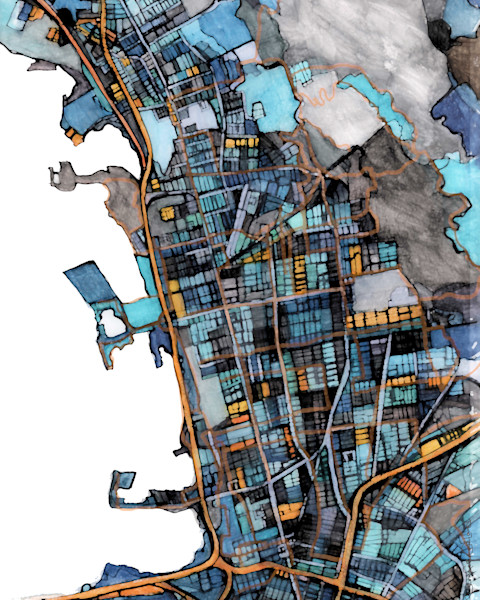 Abstract Map of Berkeley, CA