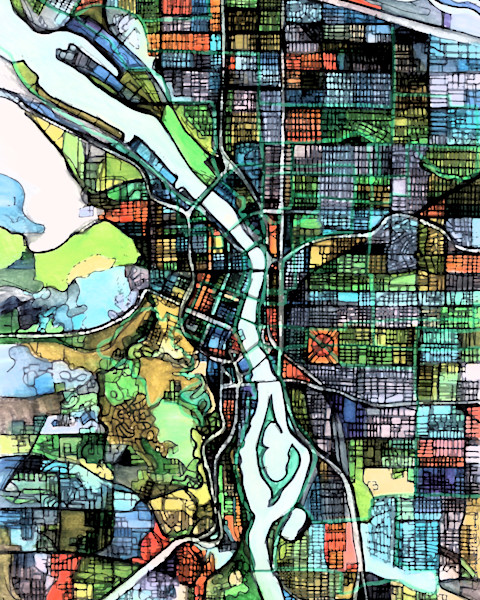 Abstract Map of Portland, OR