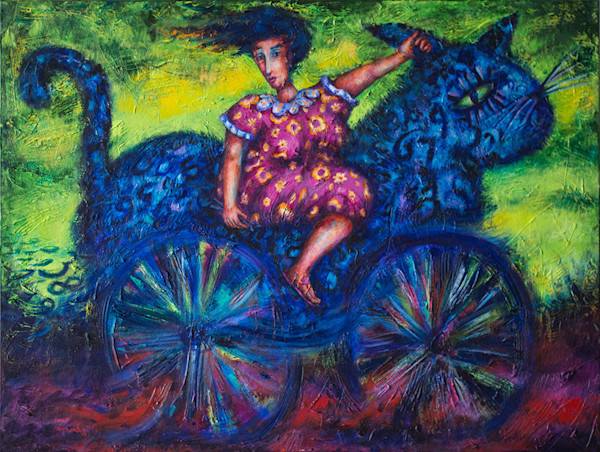 "In another of his paintings from his ""Fantasies of Time Series,"" artist Pablo Montes creates a wonderful, whimsical and fantastical image of a large blue creature, a cross between a bicycle and a cat, carrying a blue-haired woman on its back."