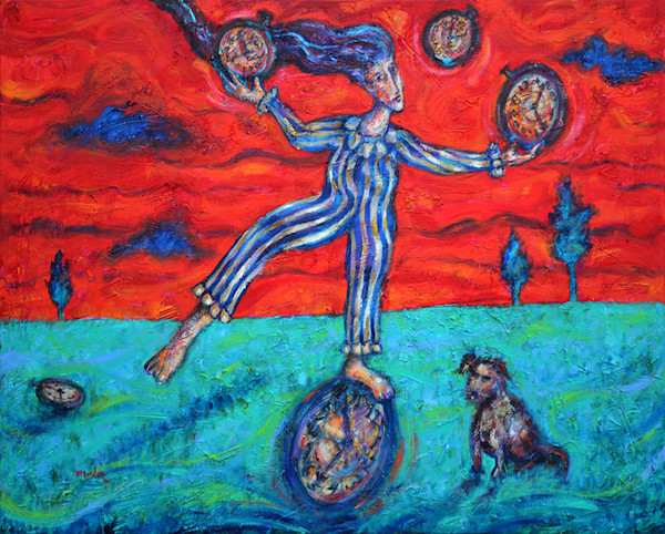 """Set against a red sky, the figure in the center of this original painting by Pablo Montes is doing his best to """"stay on the ball"""" while """"juggling time"""" in this original painting by Pablo Montes."""