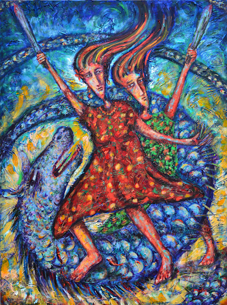 Two women, swords in hand, endlessly fight the battle over time, represented by a spiraling monster. Beautiful patterns and texture and contrasting color adds movement and energy to this original painting by Pablo Montes.