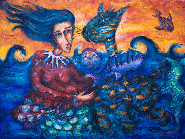This stunning original painting by artist Pablo Montes is filled with vivid color, fantastic creatures and a beautiful mermaid in this original painting by Pablo Montes.