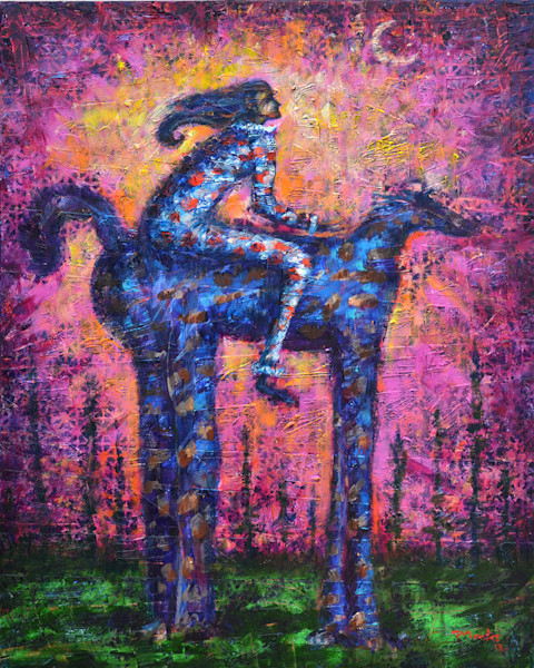 The illusion of time standing still is represented by this wonderful original painting by artist Pablo Montes. The rider and the horse-like creature are both staring off into the distance, lost in thought in this original painting by Pablo Montes.
