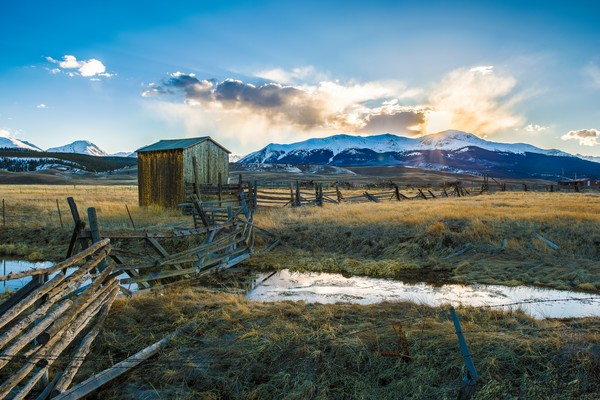 Photo of Leadville Colorado Ranch With Sunset over Mt Elbert Lake County CO