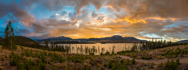 Panoramic Photo of Lake Dillon Reservoir Sunset Summit County Colorado