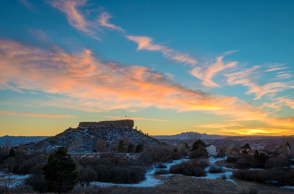 Pink, Yellow Blue Winter Sunset & Clouds Castle Rock Colorado