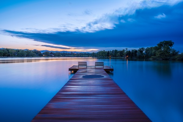 Serene Photograph of Bow Mar Colorado Lake at Sunset
