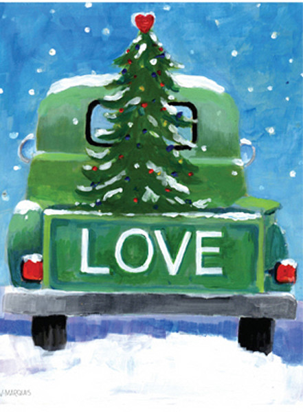 christmas card with a tree in the back of the truck and love on the banner