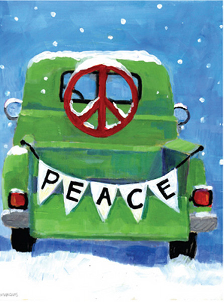 Green pickup with a peace sign on the rear window and a banner across the bed of the truck that says peace