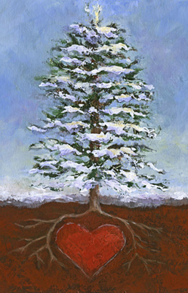 CHRISTMAS TREE, ROOTS, HEART, GREETING CARD