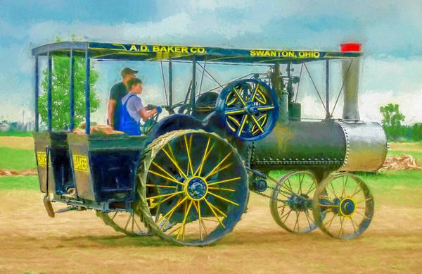Baker Steam Powered Tractor Painting|Wall Decor fleblanc