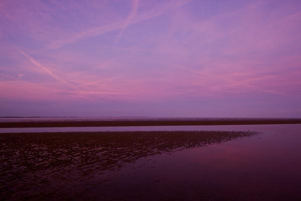 pink sunset beach art print
