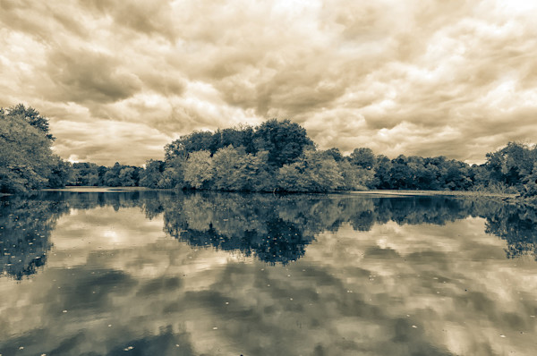 Autumn Reflections - Split Toned Limited Edition Signed Landscape Photograph by Melissa Fague