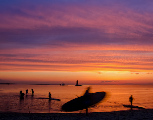 Paddle Surfer in the Sunset Limited Edition Signed Landscape Photograph by Melissa Fague