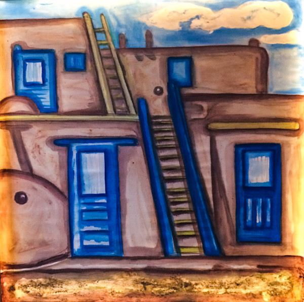Taos Pueblo BluesOriginal Paintings Fine Art Prints on Canvas, Paper, Metal & More