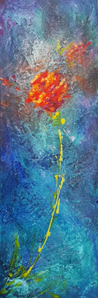 becoming-3, flower, single, texture, blues, splashes