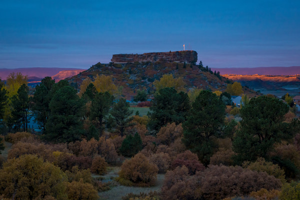Castle Rock Colorado Photo - Sliver of Light Illuminating USA Flag