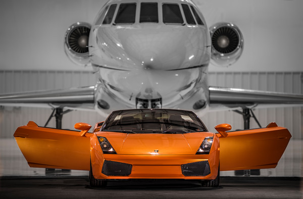 Photograph of Lamborghini Gallardo & Dassault Falcon 900 Private Luxury Jet