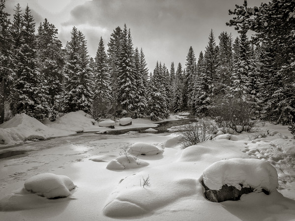 Black & White Winter Photo of Blue River Maggie Pond Breckenridge Colorado