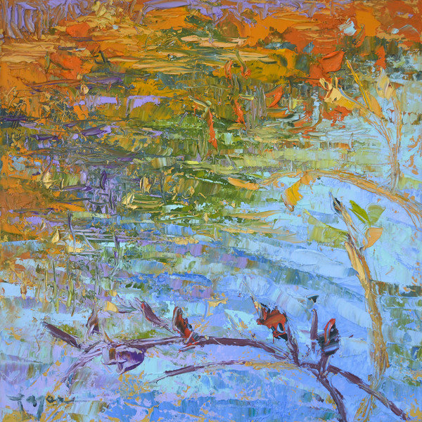 Autumn Breeze (Pond XVIII) Abstract Waterscape Fine Art Print by Dorothy Fagan