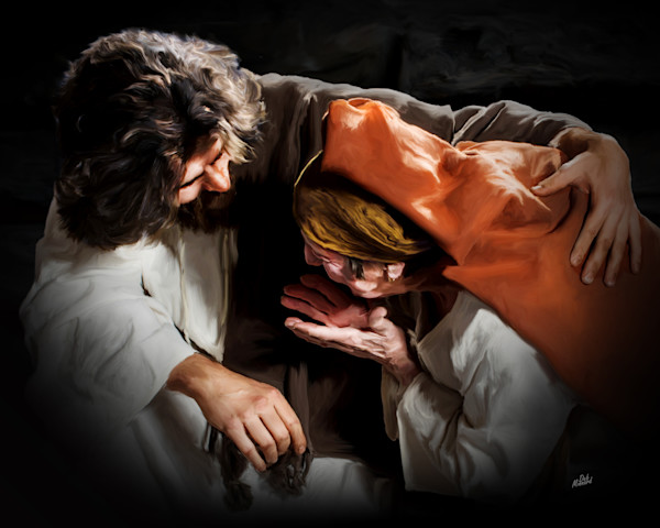 Digital painting of Jesus comforting a grieving woman