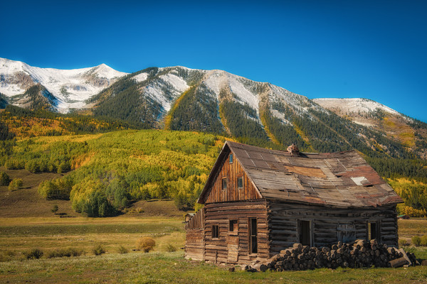 Photo Old Cedar Log Cabin Homestead Crested Butte Colorado